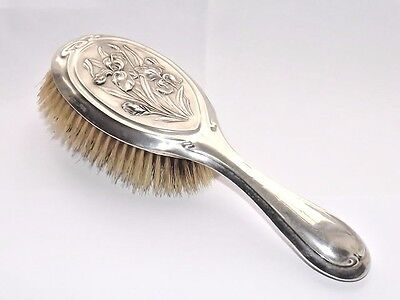 Lovely Antique Art Nouveau Hm Solid Silver Sterling Clothes Brush Chester 1904