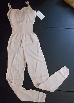 NWT CAPEZIO fine gauge sweater jumpsuit CK1035 Apricot Sorbet ladies V back