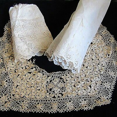 Antique SILK LACE COLLAR ARYSHIRE EMBROIDERY FABRIC Cotton LOT TRIM