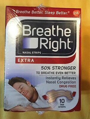 6 Boxes Of 10 Count Breathe Right Extra Nasal Strips Tan FREE SHIPPING!!!  3G