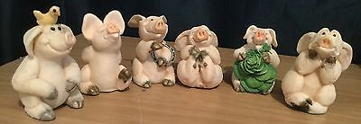 Piggin' 6 X Small Pig Ornaments  By David Corbridge Good Luck High Flyer Fed Up