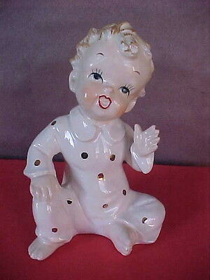 Scarce Vintage Ceramic Baby Figurine By Orion Adorable  Pj's Bare Butt 1950's