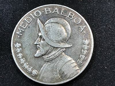 T2: World Coin Panama 1932 1/2 Balboa Only 63,000 minted .900 Silver