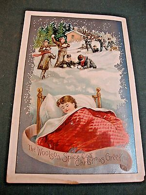 Victorian Christmas Greeting Card For Woolson Spice Advertising Lion Coffee