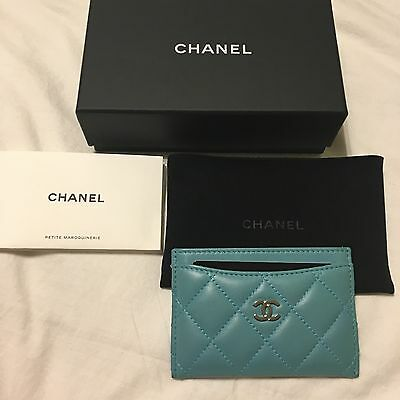 Chanel Card Holder Light Teal Aqua Lambskin Credit Card Case Leather