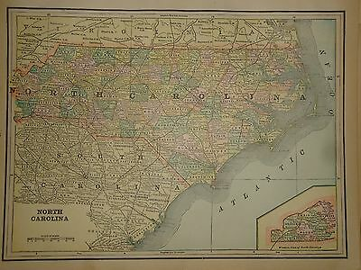 Vintage 1890 North Carolina Map Old Antique Original Atlas Map 90/042117