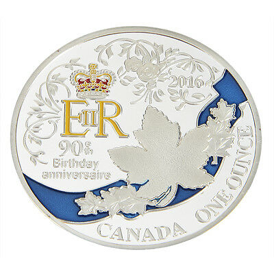 Hot Silver Plated Queen's 90th Birthday Commemorative Coin Collectible Nice New
