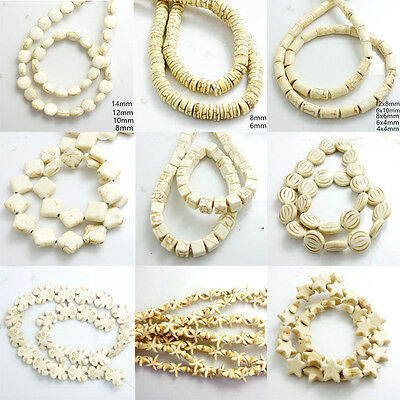 54 Styles White Turquoise Carved Spacer Loose Beads Strand Charm Findings 15''