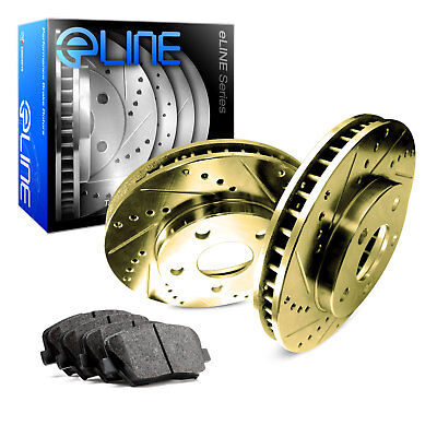 2009-2015 Toyota Venza Rear Gold Drilled Slotted Brake Disc Rotors & Ceramic Pad