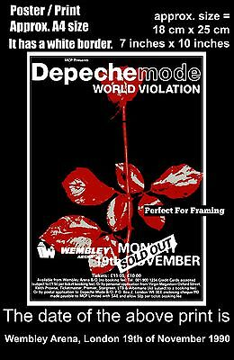 Depeche Mode live concert Wembley Arena London 19 November 1990 A4 poster print