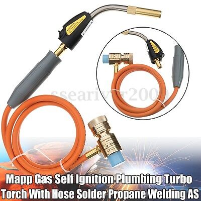 Mapp Gas Self Ignition Plumbing Turbo Torch With Hose Solder Propane Welding AS