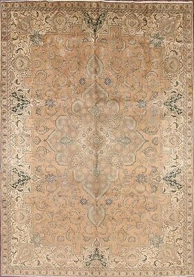 Antique Geometric Muted Color 8x11 Tabriz Persian Oriental Area Rug 10' 8 x 7' 6