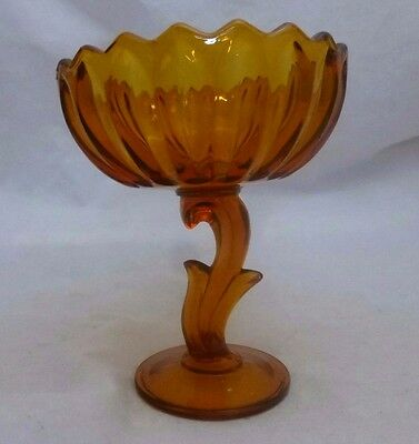 Indiana Glass, Lotus Blossom, Amber, Compote, Pedestal, Fruit, Candy Dish