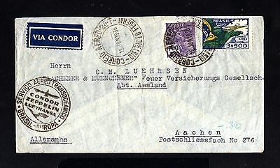 15401-BRAZIL-AIRMAIL CONDOR ZEPPELIN COVER S.PAULO to BERGDORF (germany)1936.WW2