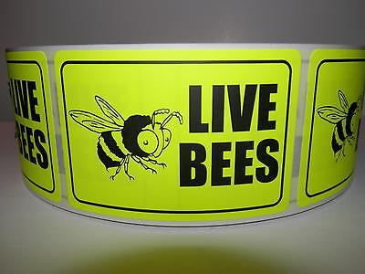 LIVE BEES chartreuse fluorescent 2X3 Warning Sticker Label 250/rl