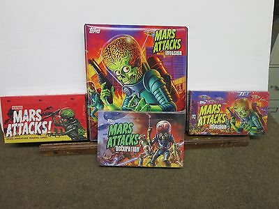 Mars Attacks Lot 3 Sealed Boxes Topps-  Heritage,invasion,occupation/free Binder