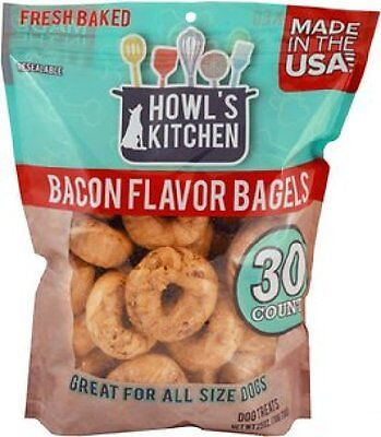 30 Count Howl's Kitchen BACON Bagels Dog Cookies FRESH BAKED Treat USA Scott Pet