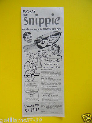 1948 Hooray For Snippie - Electric Scissors For Kids - Toy Sales Art Ad