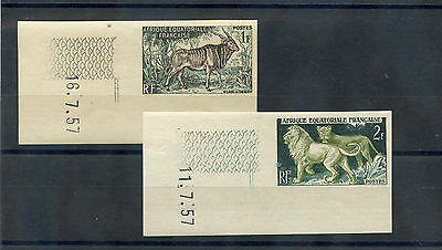 FRENCH EQUATORIAL AFRICA Sc 195-8(YT 238-41)**VF 1957 NH IMPERF ANIMAL SET $125,