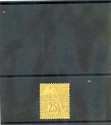 FRENCH COLONIES Sc 53(YT 53)*F-VF LH 1881 25c YELLOW BISTRE $40