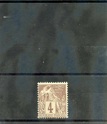 FRENCH COLONIES Sc 48(YT 48)**F-VF NH 1881 4c LILAC BROWN $45