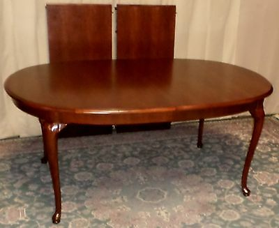 THOMASVILLE CHERRY DINING TABLE Queen Anne Style with 2 Leafs VINTAGE
