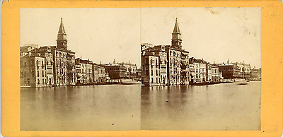 STEREO, Italie, Venise, le grand canal  Vintage albumin stereo card Tirage a