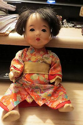 Adorable & Cute  1940's Japanese Boy Baby Doll , Great Condition