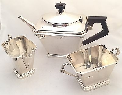Beautiful Fully Hallmarked English Solid Silver Art Deco  Tea Set 1931