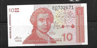CROATIA #18a UNC 1991 OLD 10 DINARA BANKNOTE NOTE BILL PAPER MONEY CURRENCY
