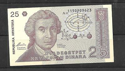 CROATIA #19a UNC MINT 25 DINARA BANKNOTE NOTE BILL PAPER MONEY CURRENCY