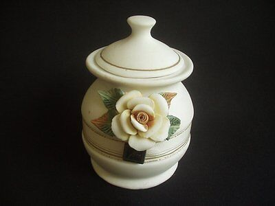 Parian Ware Lidded Jar ~Relief Rose Decoration ~Useful & Decorative