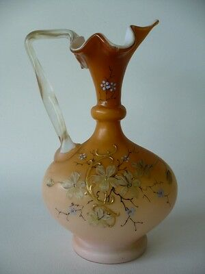 Antique Victorian Hand Painted Enamelled Glass Ewer Jug
