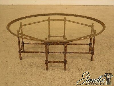28970EC: BAKER Oval Glass Top Coffee Table w. Bamboo Style Base