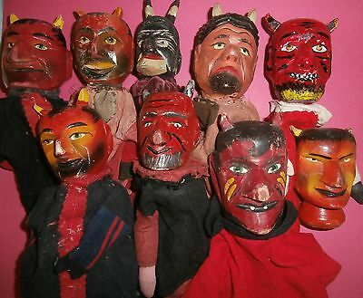 COLLECTION 9 antique German KRAMPUS/DEVIL  wooden  carved  HEAD PUNCH CHARATER