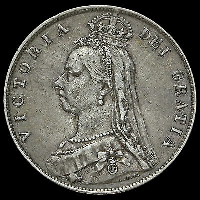 1889 Queen Victoria Jubilee Head Silver Half Crown, Scarce