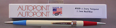 Autopoint Twinpoint  Pencil  1.1mm red--blue with ivory barrel  #209