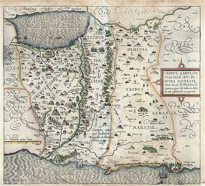 1590 Adrichem Map of the Tribes of Zebulun, Issachar and Manasseh, Israel (Sea o