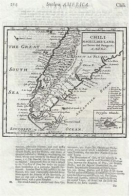 1701 Moll Map of Southern South America (Chile, Argentina, Paraguay)