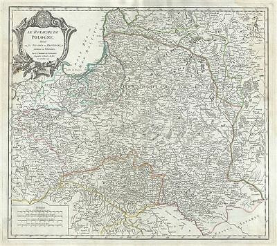 1752 Vaugondy Map of Poland and Lithuania