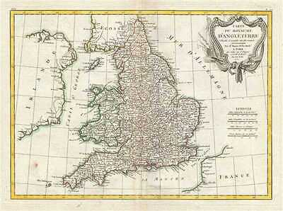 1771 Bonne Map of  England and Wales