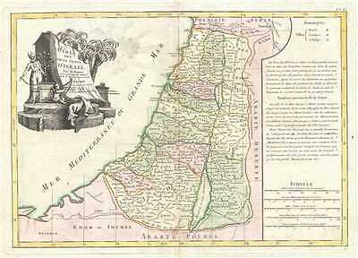 1783 Bonne Map of Israel, Palestine or the Holy Land (showing the 12 Tribes)