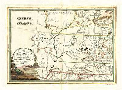 1797 Cassini Map of Virginia, Ohio, Indiana, Illinois, Kentucky, Tennessee, Miss