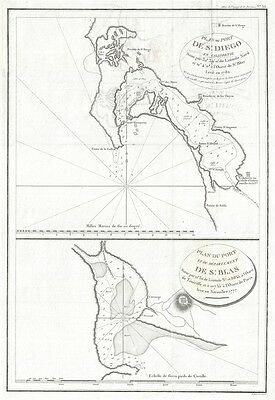 1797 La Perouse Map of San Diego Bay (earliest obtainable map of San Diego)