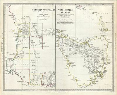 1833 S.D.U.K. Map of Western Australia and Van Diemen Island or Tasmania