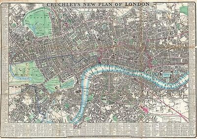 1846 Crutchley Pocket Map of London, England