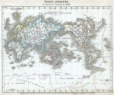 1849 Meyer Map of the World on Mercator's Projection