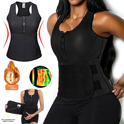 US Adjustable Neoprene Sauna Tank Top Vest Trainer Waist Belt Shaper Plus Size H