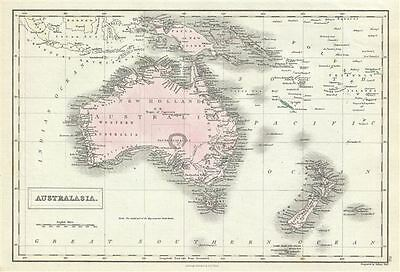 1851 Black Map of Australia and New Zealand