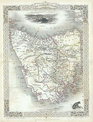1851 Tallis and Rapkin Map of Van Diemen's Land or Tasmania